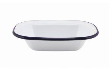 Enamel Rect. Pie Dish White & Blue 16cm