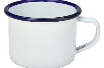 Enamel Espresso Mug White With Blue Rim 12cl/4.2oz