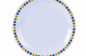 "Genware Melamine 6.25"" Plate- Coloured Circles"