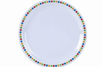 "Genware Melamine 9"" Plate- Coloured Circles"