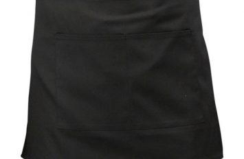 Black Short Apron w/ Split Pocket  70cm x 37cm