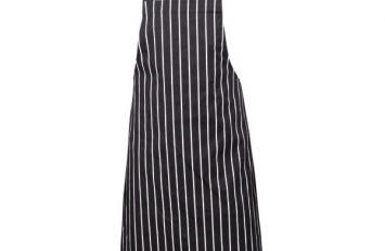 Navy butchers stripe bib apron 87cm x 100cm