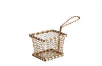 Copper Serving Fry Basket 10 x 8 x 7.5cm