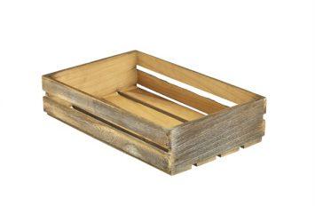 Wooden Crate Dark Rustic Finish 35x23x8cm