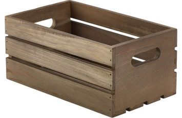 Wooden Crate Dark Rustic Finish 27x16x12cm