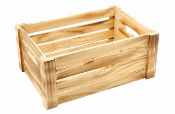 Wooden Crate Burnt Finish 34x23x15cm