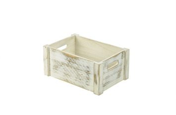 Wooden Crate White Wash Finish 34x23x15cm