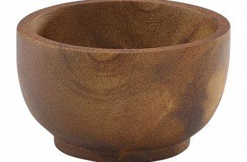 Acacia Wood Dip Pot 6cl/2oz