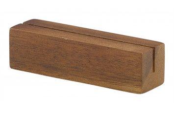 Acacia Wood Sign Holder 9x3x3cm