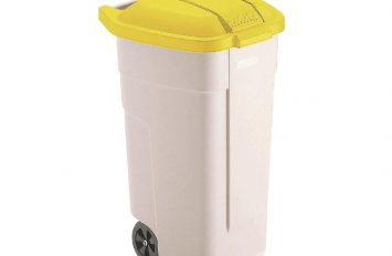 Rubbermaid Big wheel container with Yellow lid