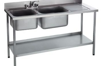 Double Bowl Sink Right Hand Drain 1500mm