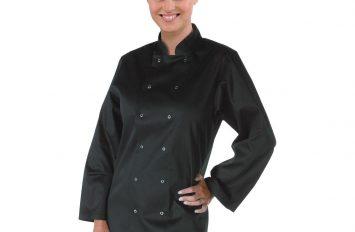 Whites Vegas Chefs Jacket Long Sleeve Black - Size Large